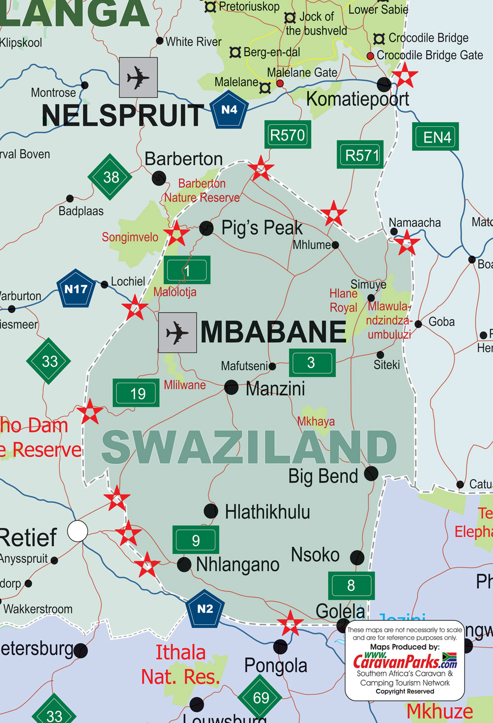 Swaziland Map CaravanParkscom Maps Caravan Parks Holiday Resorts - Swaziland map